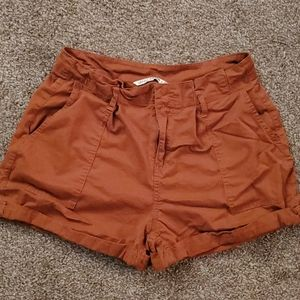 Rust/burnt orange cuffed shorts